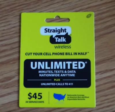 Straight Talk 45$ 1 MONTH PLAN TALK+TEXT+DATA PLUS 10GB DATA AT 4G LTE