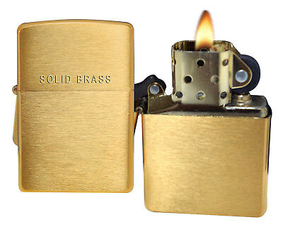 Zippo Lighter 204 Solid Brass Engraved On Lid Brushed Brass Classic NEW