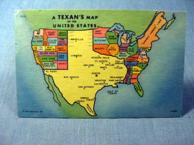 A Texans Map of the United States Comic Postcard 1940