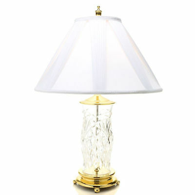 """House of Waterford Dublin Doors 29.5"""" Lead Crystal Table Lamp w/ Cotton Shade"""