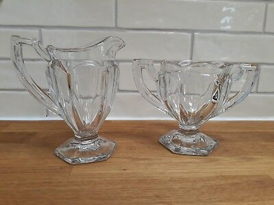 Vintage 1930s 1940s? Depression Glass? Pressed Glass Milk Jug & Sugar Bowl