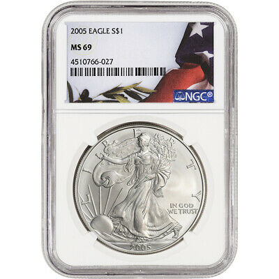 2005 American Silver Eagle - NGC MS69 - Flag Label