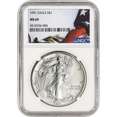 1991 American Silver Eagle - NGC MS69 - Flag Label