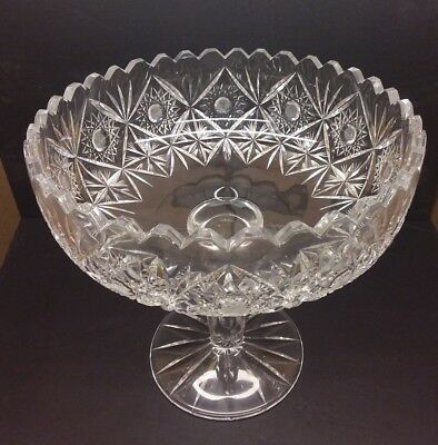 Fine Antique AMERICAN BRILLIANT Cut Crystal Hawkes Open Compote GRAVIC GLASS