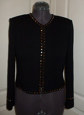 St. John Evening by Marie Gray Black Santana Knit Gold Studded Jacket Blazer sz