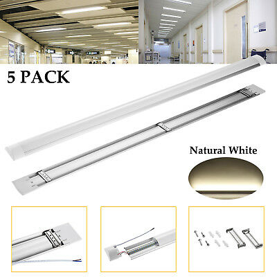 5Pcs 4FT 40W LED Linear Batten Tube Light Surface Mounted Fixtures Natural White