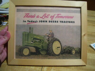 Vintage John Deere A Tractor Framed Advertisement