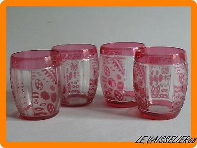 4 ANCIENS VERRES A APERITIF ART DECO EN CRISTAL DE NANCY FRANCE Auguste HOUILLON