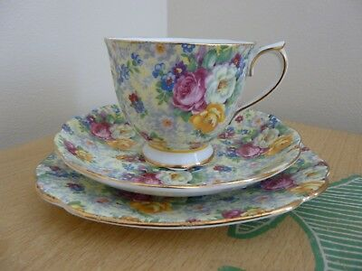 Royal Albert Chintz Trio - Cup Saucer & Square Side Plate - Rosetime - Vintage