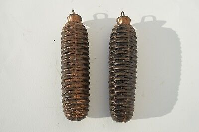 2 Vintage Cuckoo Clock  Cast Iron Pine Cone Clock Weights Excellent Condition