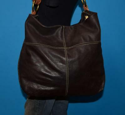 Lucky Brand Large Brown Slouched Leather Hobo Bucket Tote Purse Shoulder Bag