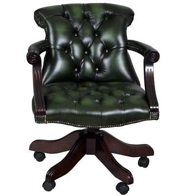 New Antique Style Green Leather Desk Chair Home Office Adjustable Swivel Rolling