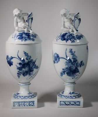 "Rare Pair of Royal Copenhagen Covered Urns ""Blue Flowers"" with Cupids"