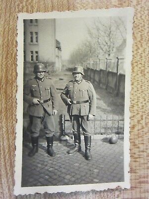 Original WWII German Army Soldiers Pose in Helmets Together Photo