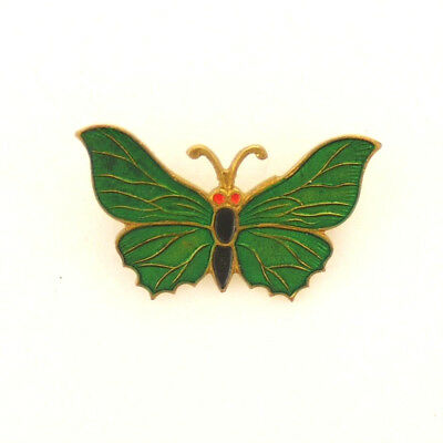 Art Deco Enamel on Gilt Brass Butterfly Brooch