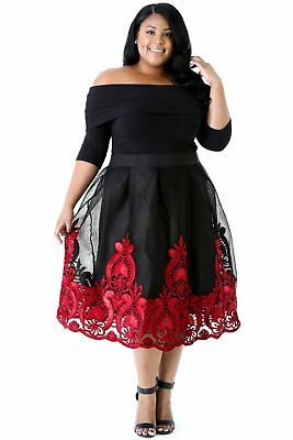Plus size black and red skater dress UK size 16 Bargain Price UK Seller