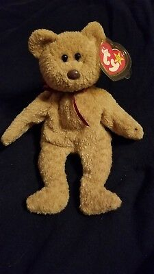 Curly the Bear - Rare Retired Ty Beanie Baby w/ Errors on Swing & Tush Tag 1996