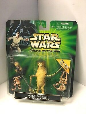 Vintage Star Wars Power Of the Jedi Amanaman w/ Salacious Crumb Figure Set MIP