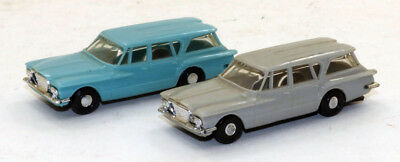 Lot of (2)Vintage Revell H-717 1961 Plymouth Valiant Wagons Blue/Gray 1:87 HO