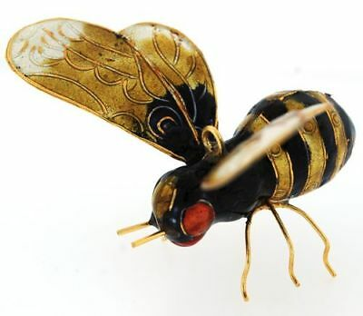Yellow and Black Bee Enamel Cloisonne Metal Christmas Tree Ornament Bug Insect