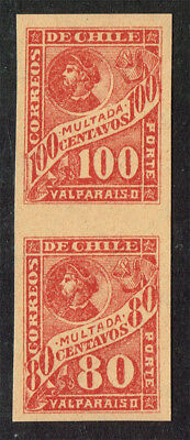 Chile Scott#j41-2 Scarce Tete-Beche Proof On Thick Paper