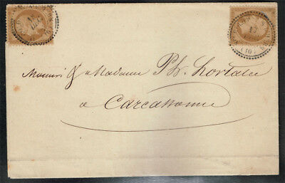 FRANCE SCOTT#32x2 ON FOLDED LETTER WITH COLOMBE SUR SHERS DATED CANCEL