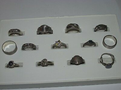 Lot Of 13 Sterling Silver .925 Rings, Different Sizes, Good Condition, (Lot #8)