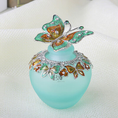 H&D Handmade Vintage Empty Blue Crystal Butterfly Perfume Bottle Lady gift 40ml