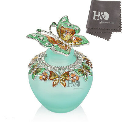 H&D Perfume Bottle Handmade Vintage Empty Blue Crystal Butterfly Lady gift 40ml