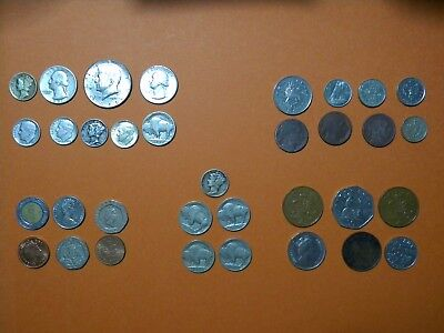 coin U.S. Silver and Foreign LOT 14 . 34 coins in total see pics United States