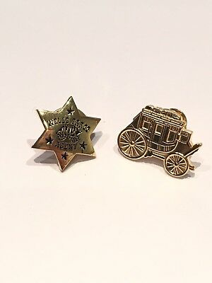 Wells Fargo Star Agent & Stagecoach Gold Toned Lapel Tie Pins Lot 2 Collectible