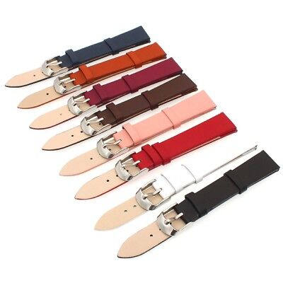 12mm 14mm 16mm 18mm 20mm 22mm Thin Genuine Leather Watch Strap Band Buckle Bar