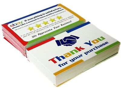 50 for eBay Thank You Cards for Sellers Color Business Printed Both Sides