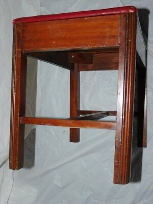 antique art deco bench desk vanity piano table wood wooden leather seat vintage
