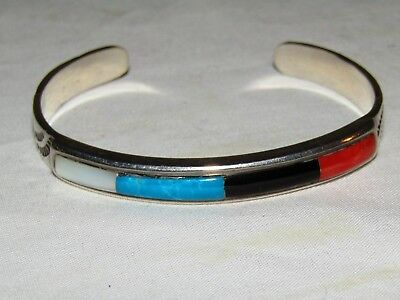 Silver, Turquoise & Coral Bracelet