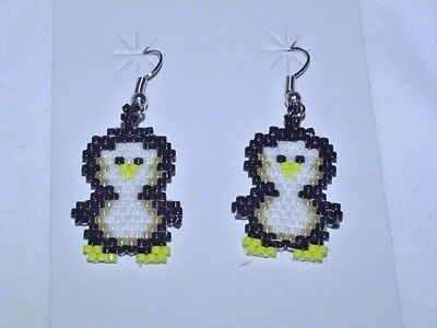 Great Choctaw Indian Beaded Earrings , Penguins