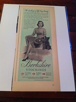 Vintage 1940 Berkshire Stockings Woman With Scottish Terrier Dog Print Art ad