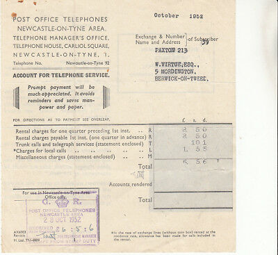 Post Office Telephones, Newcastle area 1952 receipted account