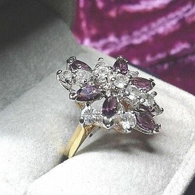 Ring vintage 18 kt Gold HGE faux Amethyst Zirkone Steine marquise GOLD PLATED