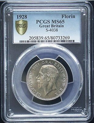 """ Top Grade "" PCGS MS-65 BU 1928 Great Britain Silver 1 Florin Unc "" Very Rare """
