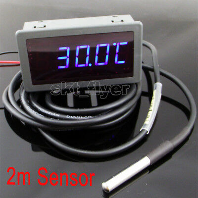 Blue LED Digital Thermometer Car Water Temp Meter Gauges F/C 2m DS18B20 Sensor