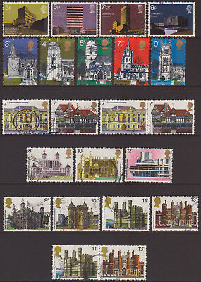 "LOT#350t - GB QEII 1971 to 1978 ""BRITISH ARCHITECTURE"" THEMED STAMP SETS USED"