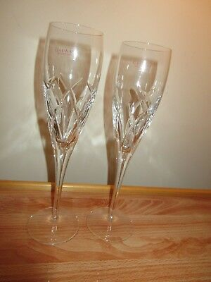 2 X New Galway Crystal Mystique Crystal Champagne Flutes / Tall Glasses Stamped