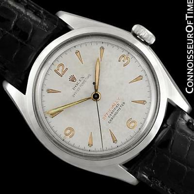 """1952 ROLEX OYSTER PERPETUAL Rare """"RED"""" Ref. 6084 SS Steel Mens Watch - Minty"""