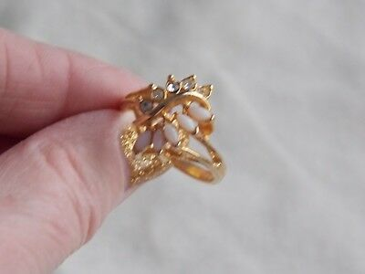 Big Look Bright Gold Plated Faux Opal & White Stone Cluster Ring Size T/u