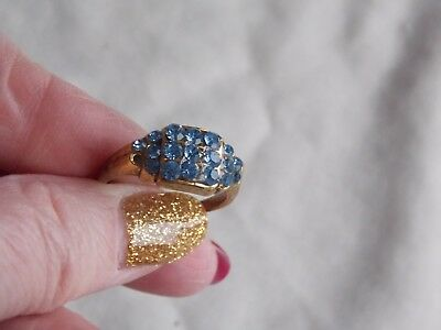 Preloved Goldtone & Blue Stone Set Cluster Design Dress Ring Size P