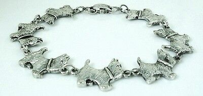 8 inch Adorable Westie Bracelet antique silver plated 20.3 cm