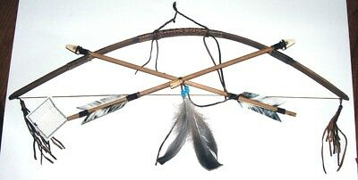Little Scout Native American Bow & Arrows Wall display w/ Owl totem LS11