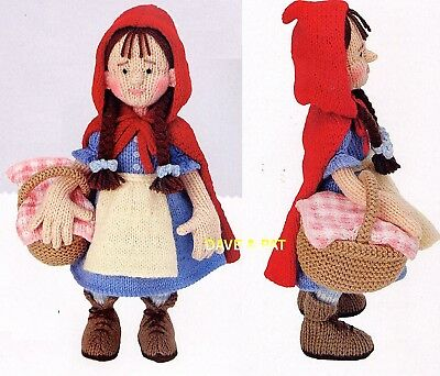 Knitting Pattern To Make Alan Dart's Little Red Riding Hood & Basket Toy Doll