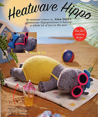 Original Knitting Pattern For Alan Dart's Sunbathing Hippo Hippopotamus Toy Doll